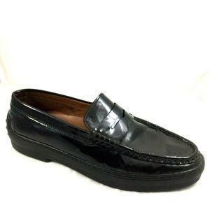 TOD's Winter Gommini Black Patent Penny Loafer 10